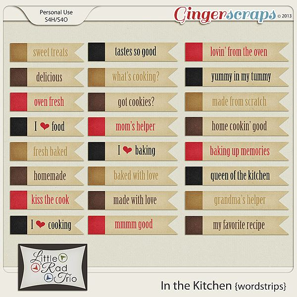 In the Kitchen wordstrips