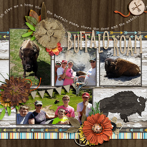 Layout by Jennifer (Kits: Desert Spirit, Wild Inside, and Native Woodland, all by Dream Big Designs, Template: Adventures in Life by Dear Friends Designs.)