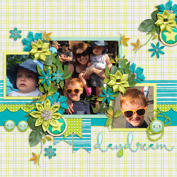 "Layout by Jenny (Kit: ""Daydream Believer"" by Seatrout Scraps)"